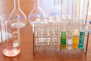 several test tubes in a test tube holder, holding various colors of liquid, surrounded by empty beakers