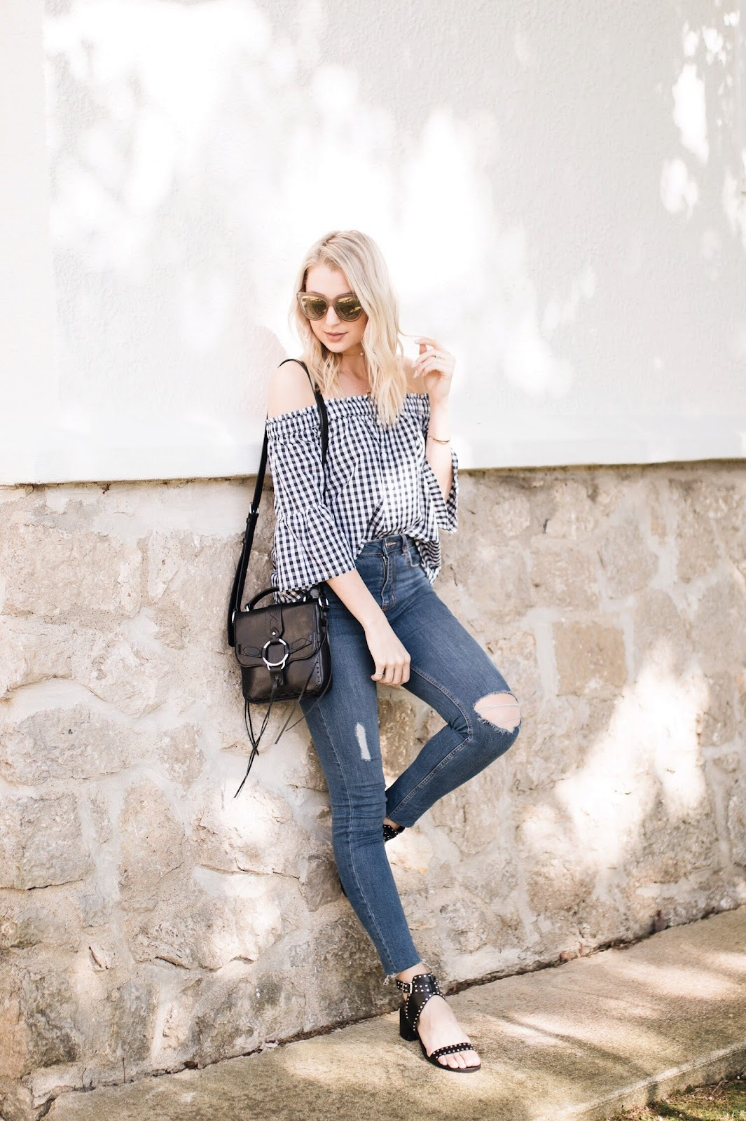 gingham top with distressed skinny jeans