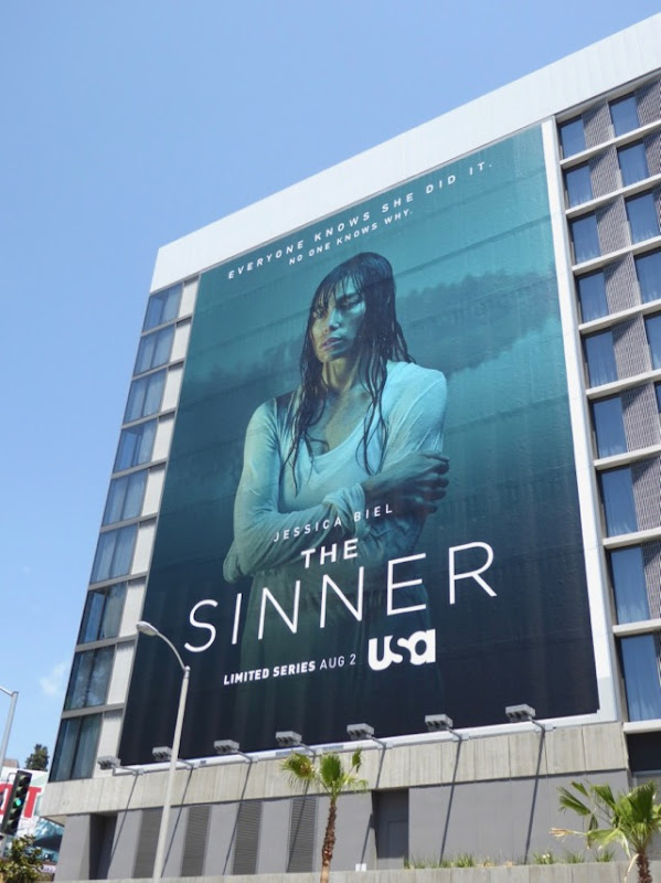 Giant Jessica Biel Sinner series launch billboard