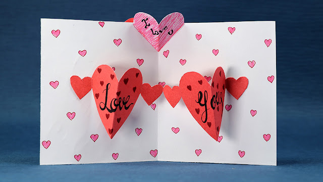 """Happy Valentine's Day Card- DIY Pop Up Heart Card Step by Step """