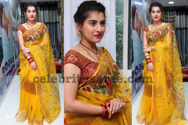 Archana Yellow Yellow Embroidery Saree