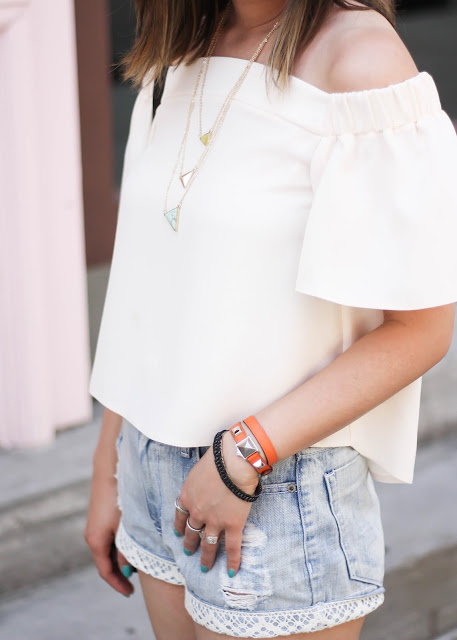 Layered Necklaces and Bracelets with Denim Shorts