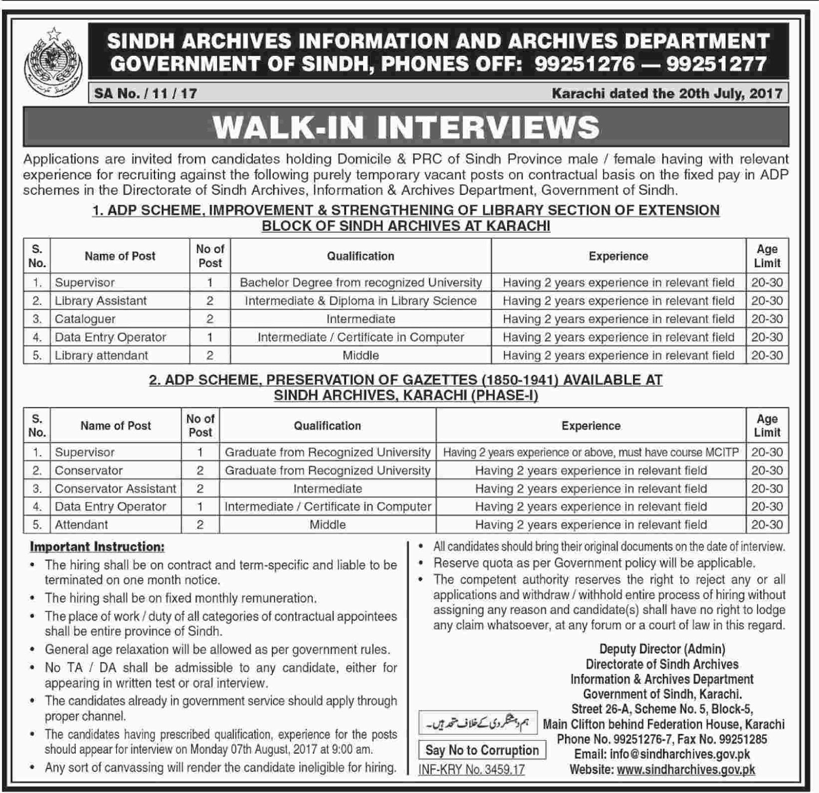 Jobs In Sindh Archives Information And Archives Department July 2017