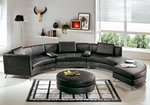 Contemporary Furniture Black Leather Curved Sofas Uk