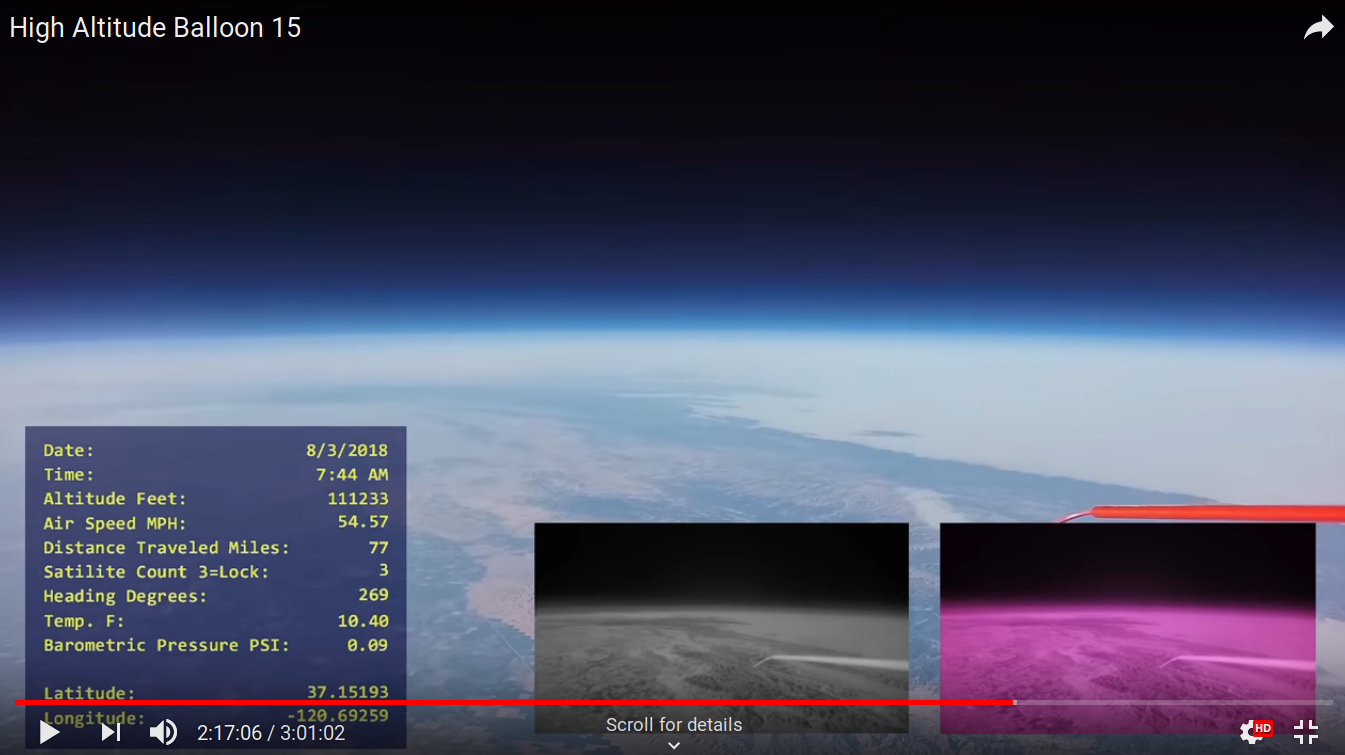 Earth curvature from a high-altitude balloon 33.9 km alt