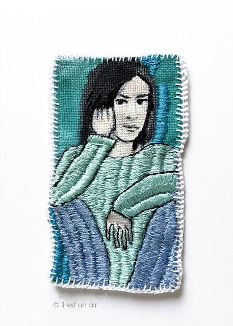 Portrait brodée sur toile de lin et fils moulinés