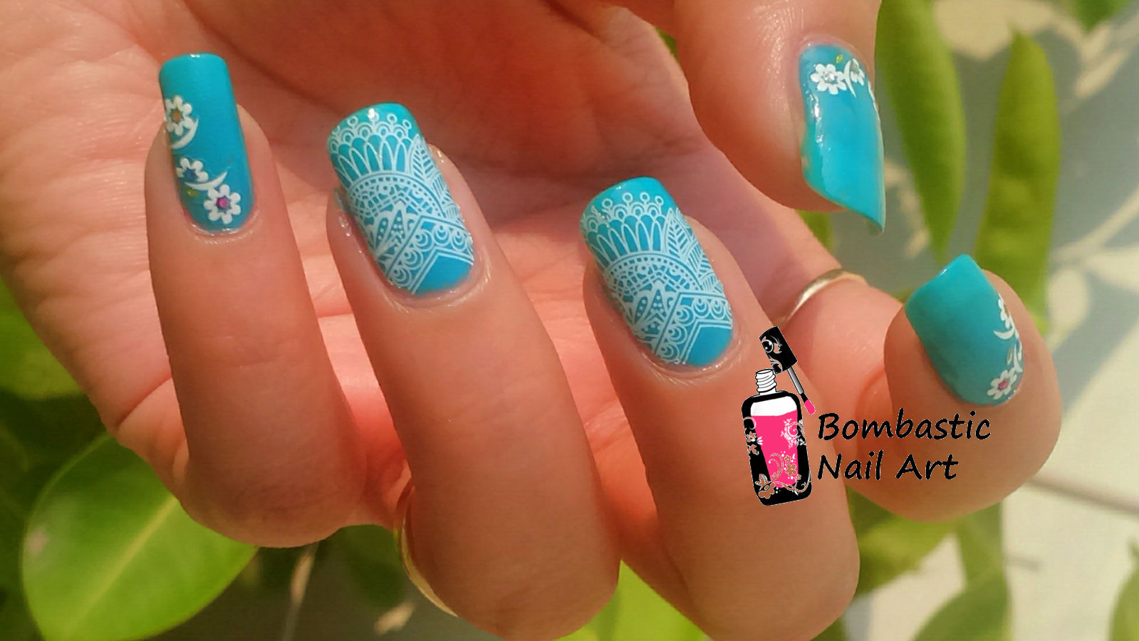 White Lace Nail Art with Water Slide Decals – Bombastic ...
