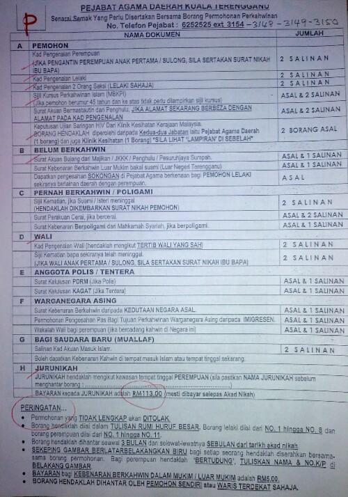 Contoh Borang Nikah Terengganu