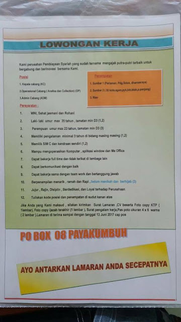Lowongan Kerja Payakumbuh 3 Posiai April 2017