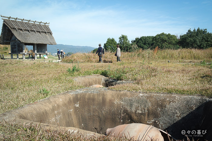 Urne funéraire Yayoi, reconstitution, parc Yoshinogari, Saga
