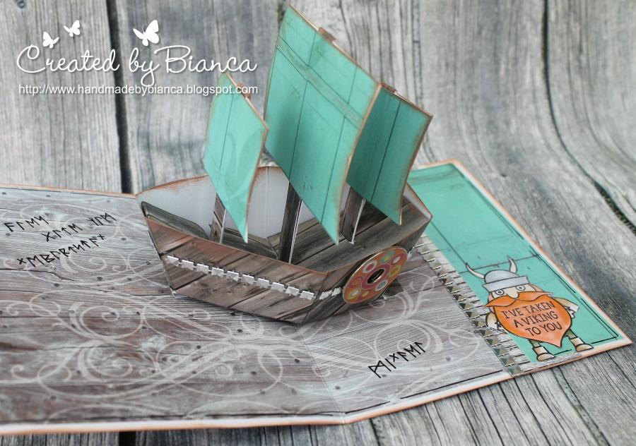 handmade by bianca wikinger karte mit pop up segelschiff. Black Bedroom Furniture Sets. Home Design Ideas