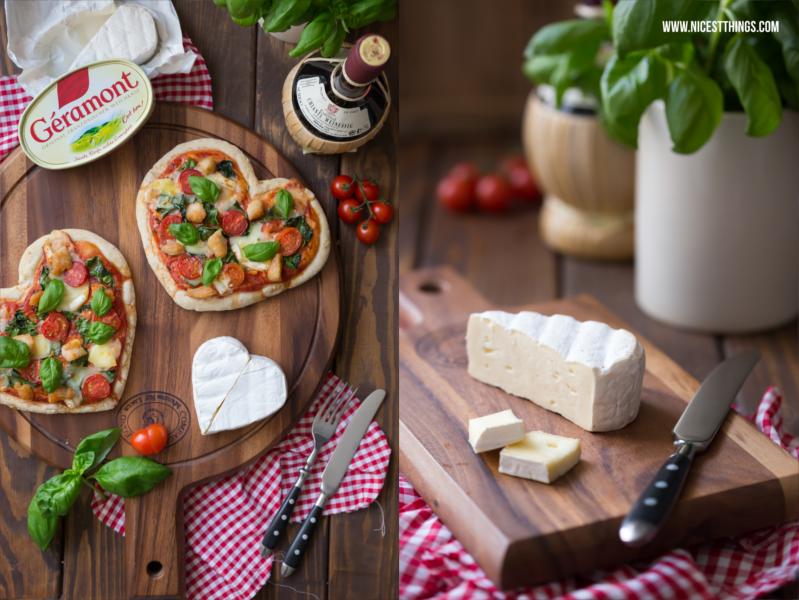 Pizza in Herzform zum Valentinstag mit Géramont