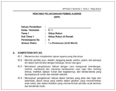 RPP Kurikulum 2013 Kelas 2 SD/MI Semua Tema Sub Tema Dan Pembelajaran