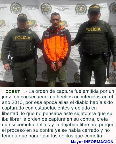 """Capturado sujeto conocido en su actuar delincuencial como alias """"EL DIABLO"""""""