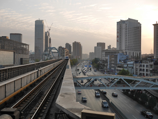 view from Toudao Street Station (头道街站) in Wuhan of a train departing