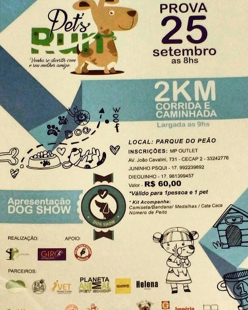 Pets Run, venha se divertir com seu melhor amigo, dia 25/09/2016 às 08hs00 no Parque do Peão em Barretos-SP com 2 km de Corrida e Caminhada