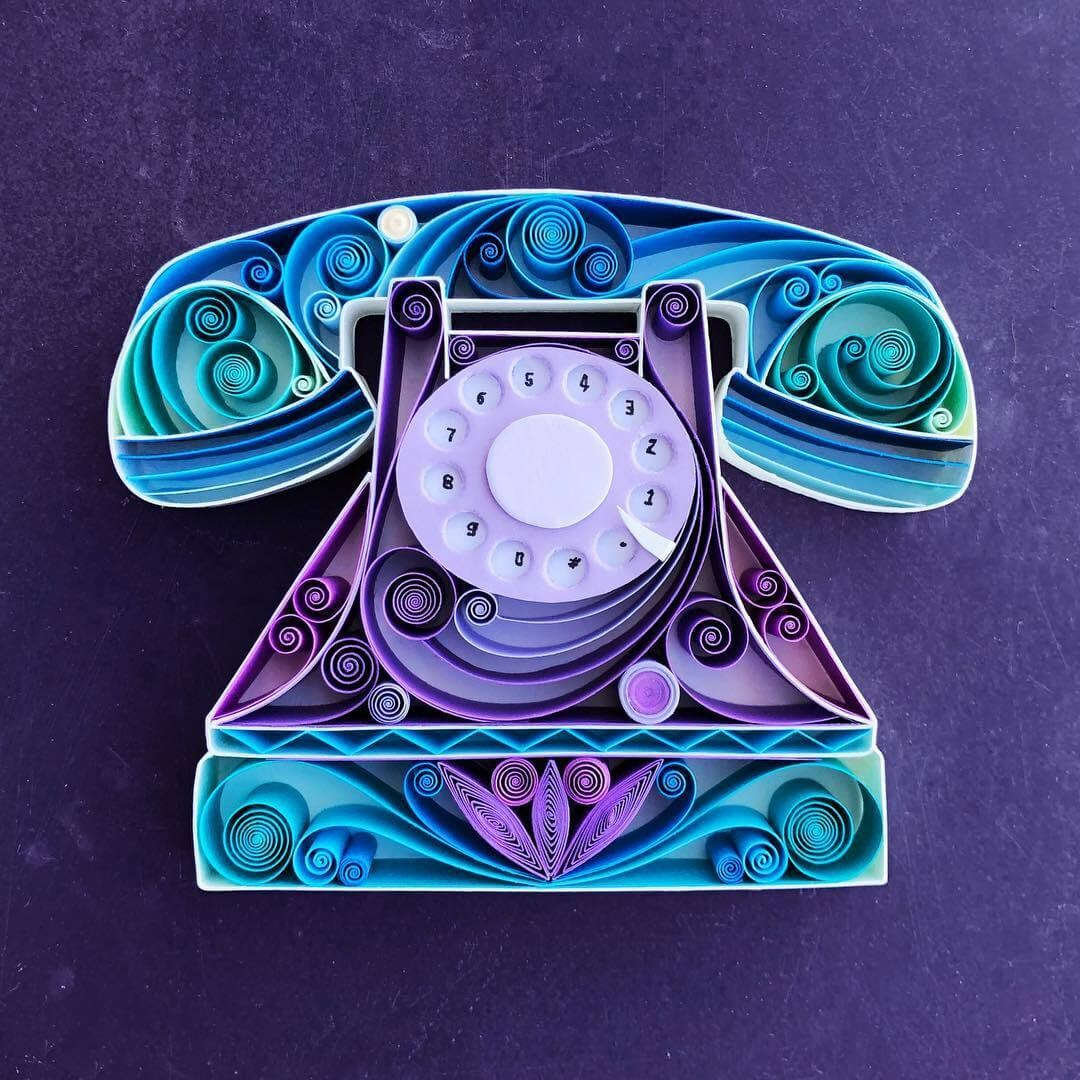 01-Vintage-Telephone-Sena-Runa-Quilling-Art-Animals-and-Objects-www-designstack-co
