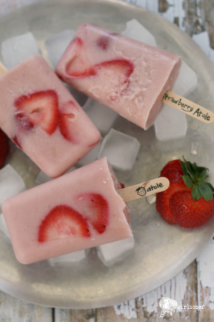 Strawberry Atole Paletas