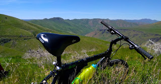 Mountain bike on trail above the South Fork of the Boise River
