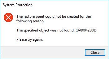System Restore 80042308 Error Code in Windows 10