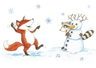 Kinderbuchillustration, Fuchs, Waschbär, niedlich, Bilderbuch, Tiere, Aquarell, Kinderlied, Schneeföckchen, Winter, Schneeballschlacht