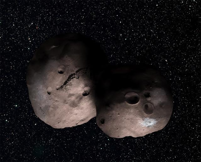 Ilustração artística de um binário de contato, o que o objeto 2014 MU69 parece ser - NASA