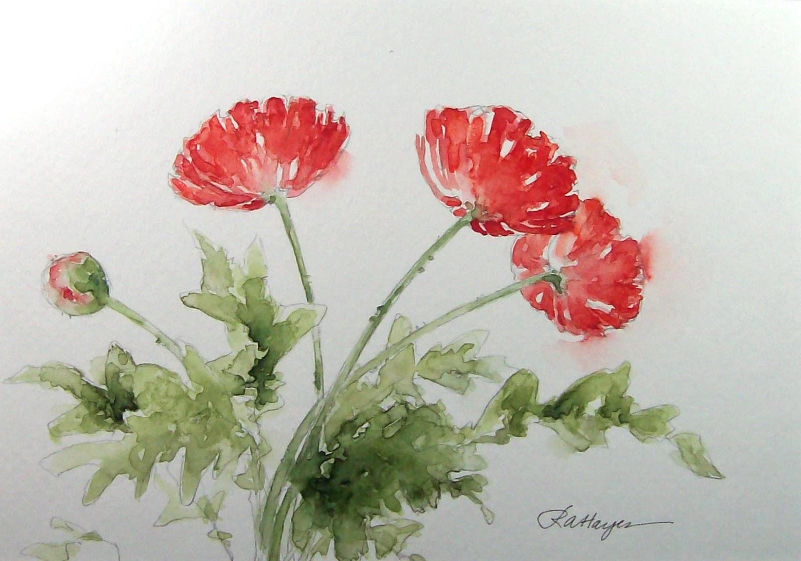 Watercolor Paintings By RoseAnn Hayes Poppies Painting