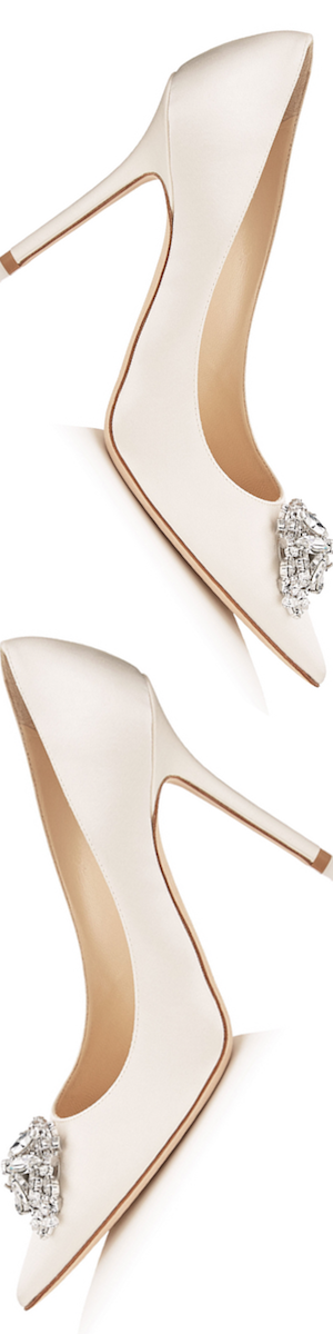 Jimmy Choo Abel Ivory Satin Pointy Toe Pumps