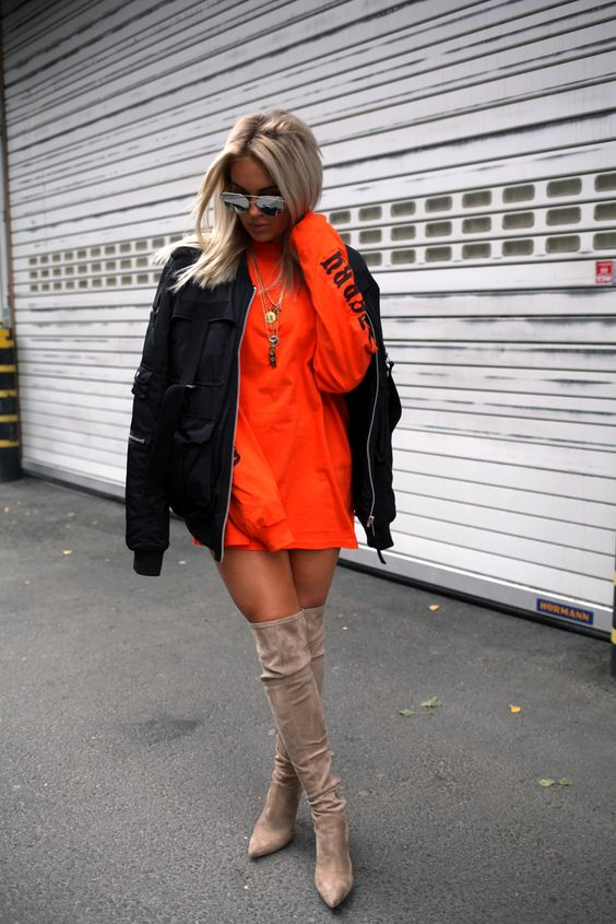 Fanny Lyckman, Oversized Sweatshirt, Tan Suede Over the Knee Boots