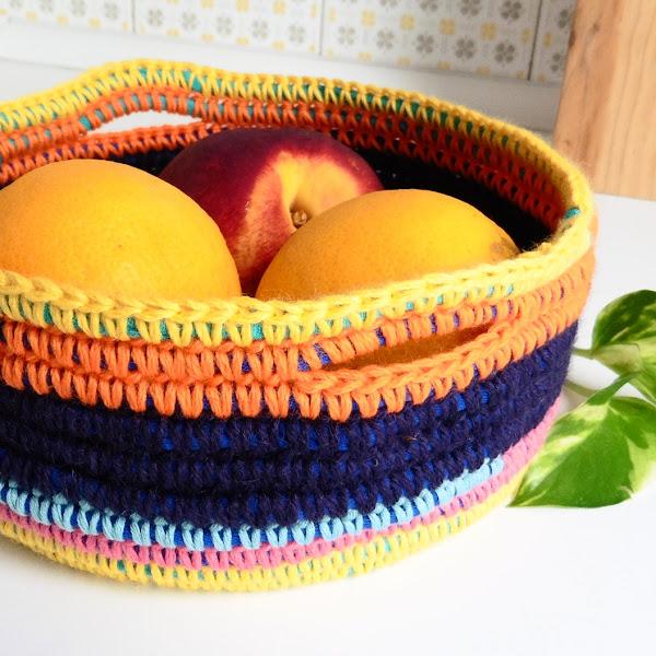 Cesta / Canasta a crochet (con trapillo)