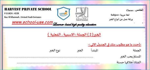 ورقة عمل انواع الخبر لغة عربية للصف الخامس الفصل الاول -مناهج الامارات