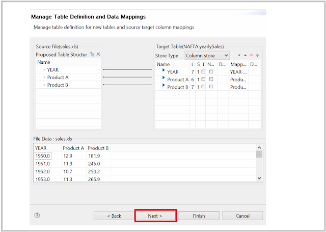 SAP HANA table mapping