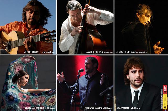 Participantes en la gala flamenca de Euskadi en el Teatro Barakaldo