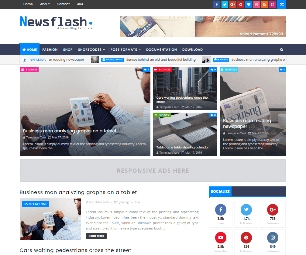 Newsflash responsive blogger template