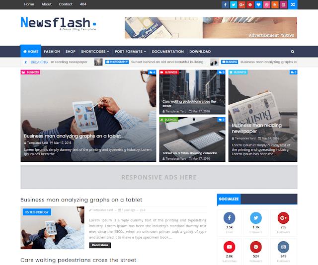 Newsflash Responsive Blogger Template Blogspot Premium