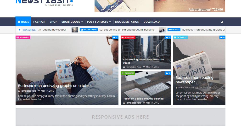 Newsflash Responsive Blogger Template   Templatesyard: Free Blogger ...