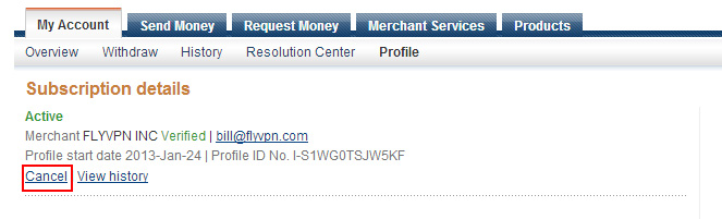 how to cancel auto payment paypal