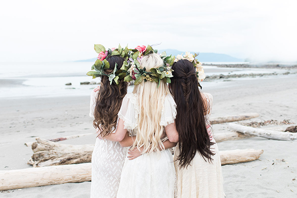 Beach boho bride hairstyles with waves and fishtail braids, using Veronica Gomes hair extensions