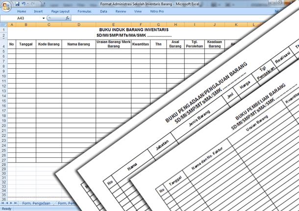 Format Administrasi Sekolah Inventaris Barang untuk SD MI SMP MTs SMA MA SMK