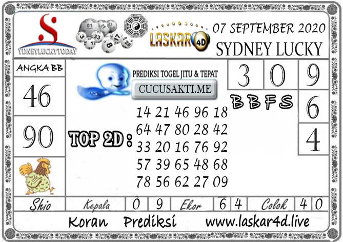 Prediksi Sydney Lucky Today LASKAR4D 07 SEPTEMBER 2020