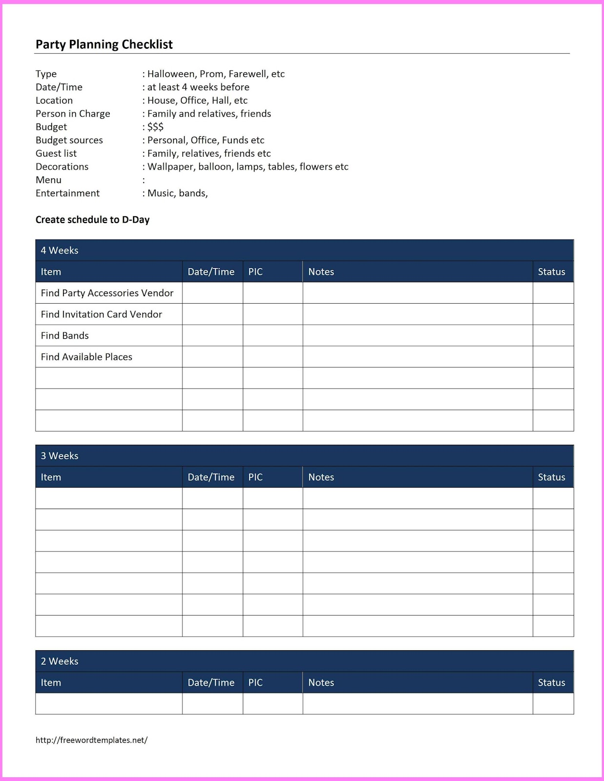 Event Planning Templates Free – Event Planning Template Free