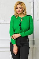Bluza Ema verde office cu dantela