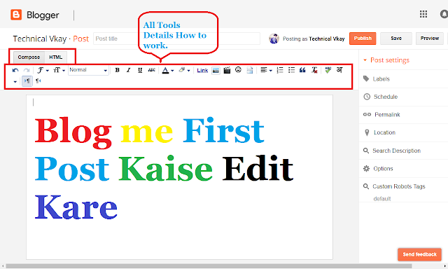 Blog me First Post Kaise Edit kare - Blog Post Editing