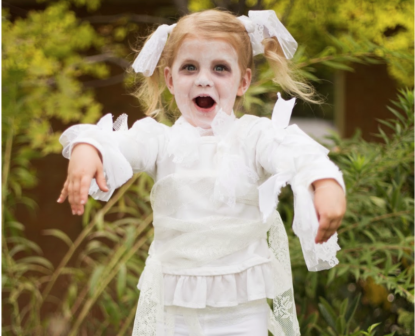 Do it yourself divas diy little girl lace mummy halloween costume diy little girl lace mummy halloween costume 659 pm boo this cute little mummy is after you solutioingenieria Choice Image