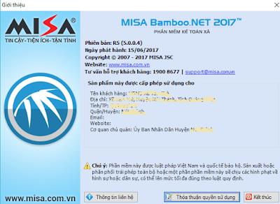 Cập nhật phần mềm kế toán xã Misabamboo.net 2017 R5.0.0.4 ngày 15/6/2017