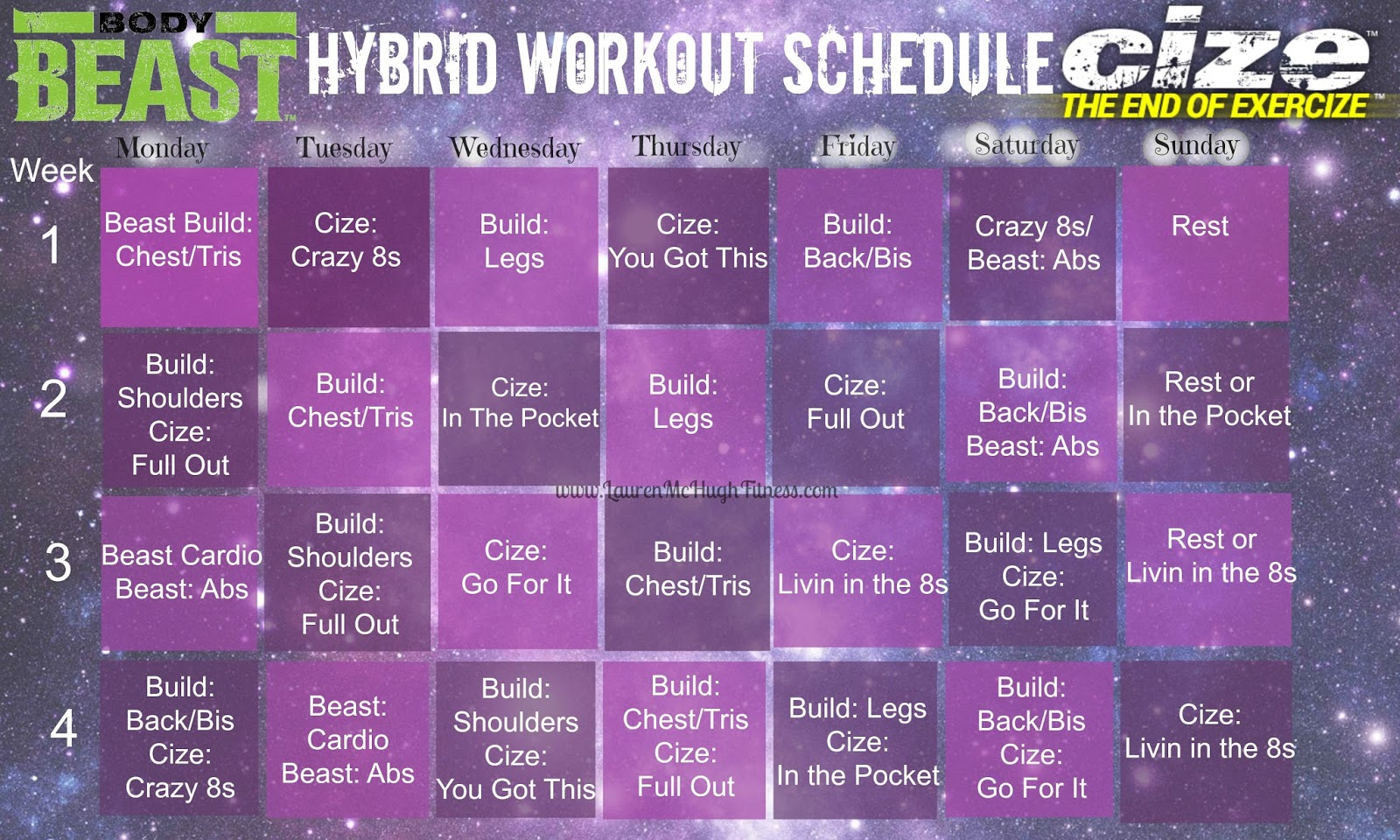 Body Beast and CIZE Hybrid Workout Calendar | Lauren McHugh