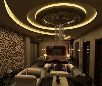 gypsum board false ceiling design ideas with LED hidden lighting for living rooms