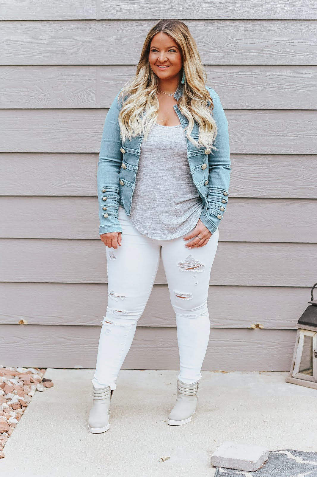 Free People Military Denim Jacket Outfit styled by popular Denver fashion blogger, Delayna Denaye
