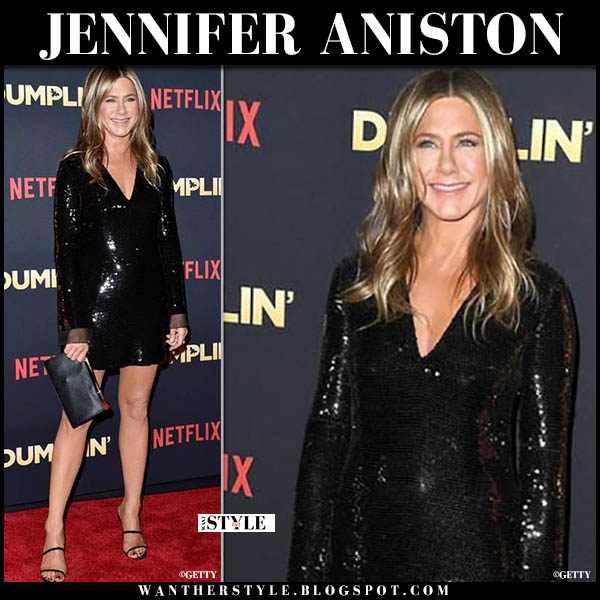 Jennifer Aniston in black sequin stella mccartney mini dress with valextra clutch at Dumplin premiere red carpet look december 6