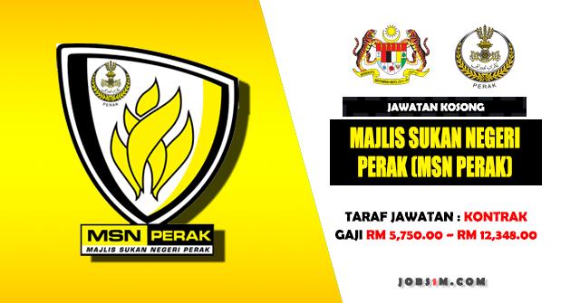 Jawatan Kosong Majlis Sukan Negeri Perak (MSN Perak) - (GAJI RM 5,750.00 ~ RM 12,348.00)